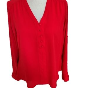 Express Red Long Sleeved Pull-On Blouse - Sz SP